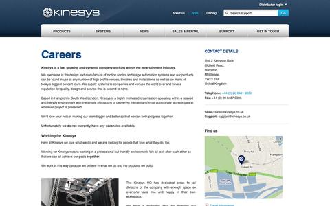 Screenshot of Jobs Page kinesys.co.uk - Kinesys  - jobs - captured Sept. 30, 2014
