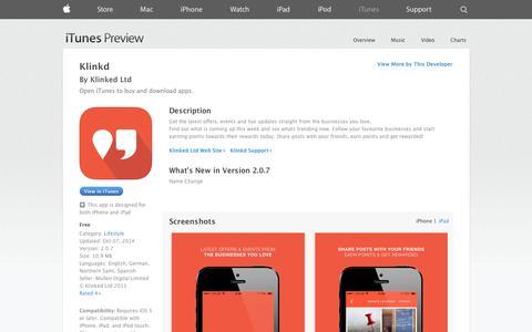 Screenshot of iOS App Page apple.com - Klinkd on the App Store on iTunes - captured Nov. 3, 2014