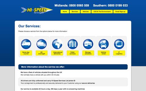 Screenshot of Services Page hispeed.co.uk - Our Range Of Secure Deliveries - captured Oct. 2, 2014