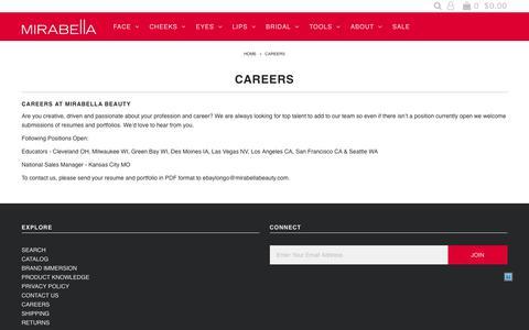 Screenshot of Jobs Page mirabellabeauty.com - Careers – Mirabella Beauty - captured Oct. 24, 2017