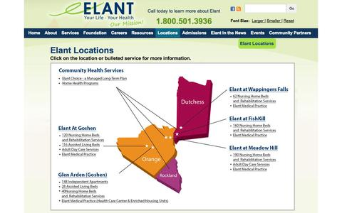 Screenshot of Locations Page elant.org - Elant offers a full continuum of care including Short-term Rehabilitation Services, Nursing Home Care, Assisted Living and Adult Day Care | Elant | Hudson Valley's Premier Provider of Health and Housing Solutions - captured Oct. 28, 2014