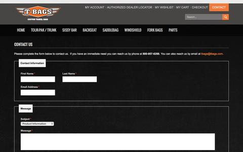 Screenshot of Contact Page tbags.com - T-Bags - custom motorcycle luggage Contact Us - captured Feb. 28, 2016