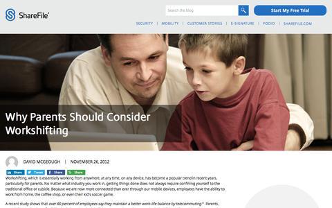 Screenshot of Blog sharefile.com - Why Parents Should Consider Workshifting - ShareFile Blog - captured Feb. 25, 2020