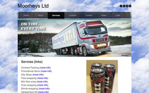 Screenshot of Services Page moorheys.co.uk - Services | Contract Packing Solutions | Flow Wrapping | Shrink Wrap |  - Moorheys Ltd - captured Jan. 10, 2016