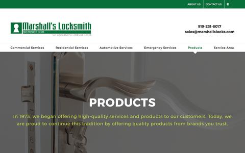 Screenshot of Products Page marshallslocks.com - Raleigh, NC Security Products from Marshall's Locksmith - captured Oct. 17, 2017