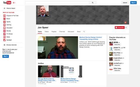 Screenshot of YouTube Page youtube.com - Jon Speer  - YouTube - captured Oct. 22, 2014