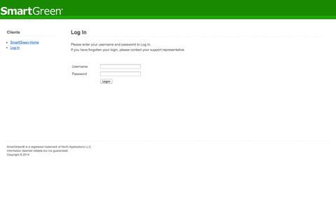 Screenshot of Login Page smartgreen.com - SmartGreen - captured Oct. 4, 2014