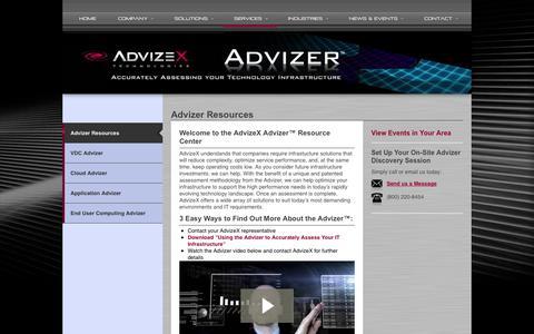 Screenshot of Services Page advizex.com - Advizer Resources - AdvizeX | AdvizeX - captured Oct. 4, 2014