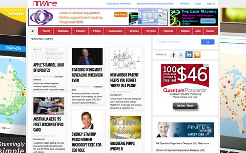 Screenshot of Home Page itwire.com - iTWire - Todays Latest IT News & Information - ITWire.com - captured Sept. 19, 2014