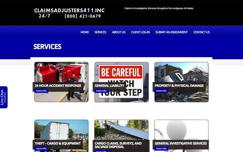 Screenshot of Services Page claims411inc.com - Services  |  claims411inc | Claims & Investigative Services throughout the contiguous 48 states. - captured Sept. 30, 2014