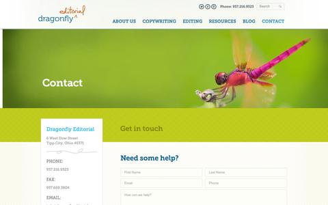 Screenshot of Contact Page dragonflyeditorial.com - Contact Dragonfly Editorial - captured Oct. 27, 2014