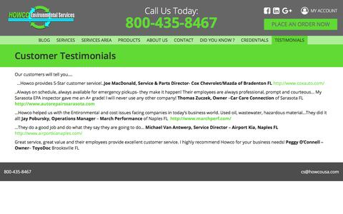 Screenshot of Testimonials Page howcousa.com - Customer Testimonials – Howco USA - captured July 10, 2017
