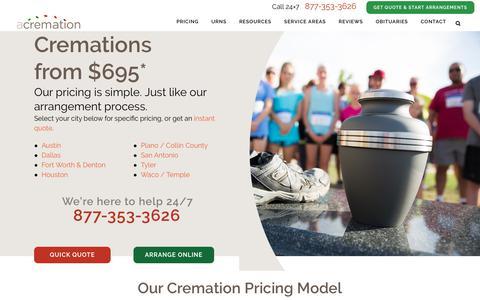 Screenshot of Pricing Page acremation.com - Affordable Cremation Pricing Starting at $695 | aCremation - captured Nov. 6, 2018