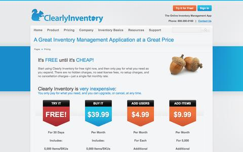 Screenshot of Pricing Page clearlyinventory.com - Pricing for Clearly Inventory Web Based Inventory Management Software - captured July 13, 2016