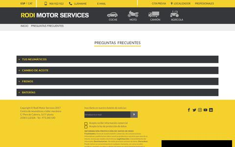 Screenshot of FAQ Page rodi.es - RODI MOTOR SERVICES - Preguntas frecuentes - captured Sept. 25, 2018