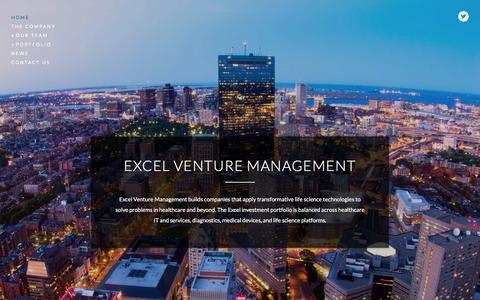 Screenshot of Home Page excelvm.com - Excel Venture Management - captured Feb. 1, 2016