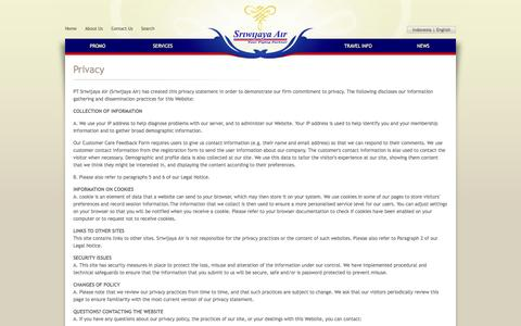 Screenshot of Privacy Page sriwijayaair.co.id - Privacy | Sriwijaya Air - captured Sept. 18, 2014