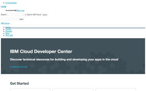 Screenshot of Developers Page ibm.com - IBM Cloud Developer Center - captured July 3, 2018