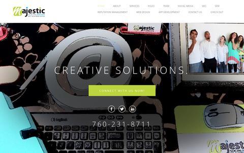 Screenshot of Home Page majesticsocialmedia.com - Majestic Social Media and SEO creates powerful SEO and Social Media Campaigns - captured Jan. 27, 2015