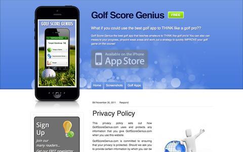 Screenshot of Privacy Page golfscoregenius.com - Privacy Policy - Golf Score Genius - captured Sept. 30, 2014