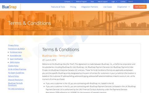 Screenshot of Terms Page bluesnap.com - BlueSnap Terms & Conditions | BlueSnap - captured Dec. 6, 2016