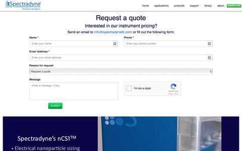 Screenshot of Pricing Page nanoparticleanalyzer.com - Spectradyne LLC - captured Dec. 21, 2016