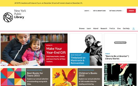 Screenshot of Home Page nypl.org - Welcome to The New York Public Library - captured Dec. 20, 2015