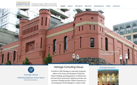 Screenshot of Home Page heritage-consulting.com - Heritage Consulting Group - captured Oct. 2, 2014