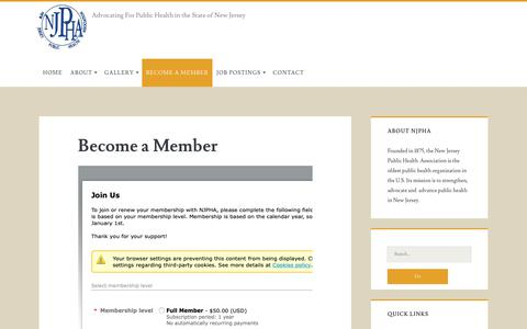 Screenshot of Signup Page njpha.org - Become a Member – New Jersey Public Health Association - captured Oct. 31, 2018