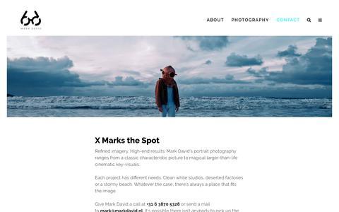 Screenshot of Contact Page markdavid.nl - MARK DAVID Photography / Portret en reclame fotograaf Den Haag Amsterdam Rotterdam Zuid Holland     Contact - captured July 26, 2018