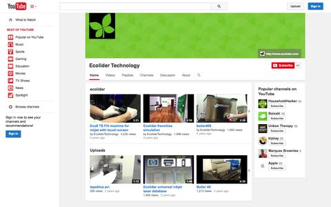 Screenshot of YouTube Page youtube.com - Ecolider Technology  - YouTube - captured Oct. 22, 2014