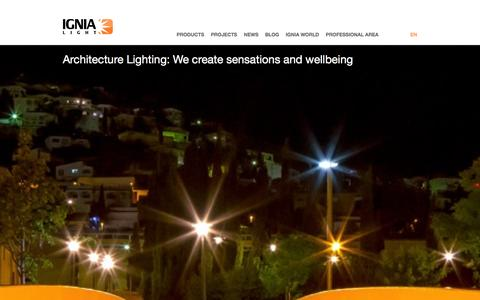 Screenshot of Home Page ignialight.com - Ignialight- Manufacturers of luminaires with LED technology - captured Jan. 8, 2016