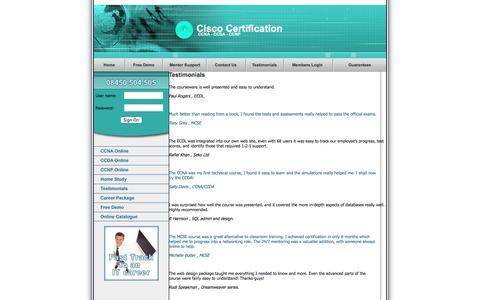 Screenshot of Testimonials Page cisco-certification.co.uk - Cisco Testimonials - captured May 31, 2016