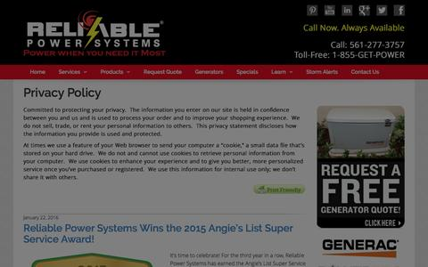 Screenshot of Privacy Page myreliablepower.com - Privacy Policy | My Reliable Power - captured Jan. 22, 2016