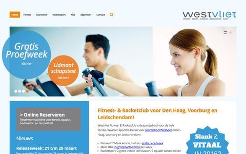 Screenshot of Home Page westvliet.nl - Fitness in Voorburg Leidschendam? Start nu Gratis! - captured Feb. 25, 2016