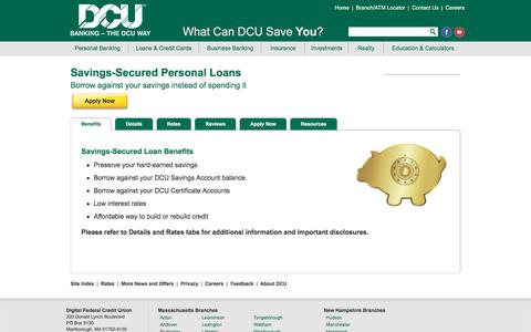 Savings-Secured Personal Loans | DCU | MA | NH