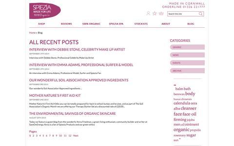 Screenshot of Blog spieziaorganics.com - All Recent Blog Posts | Spiezia Organics - captured Sept. 23, 2014