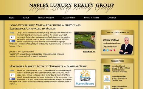 Screenshot of Press Page naplespelicanbayproperties.com - Marketing News - Naplespelicanbayrealestate.com - captured Jan. 12, 2016