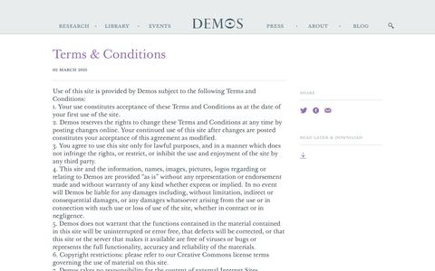 Screenshot of Terms Page demos.co.uk - Terms & Conditions - Demos - captured Aug. 1, 2016
