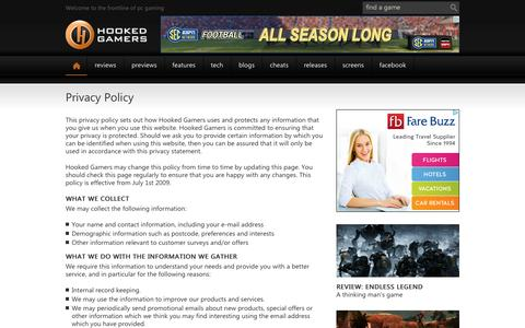 Screenshot of Privacy Page hookedgamers.com - Welcome to the frontline of PC gaming - Hooked Gamers - captured Sept. 23, 2014
