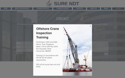 Screenshot of Contact Page surendt.com - Sure NDT | Contact | Bangkok, Songkhla, Thailand - captured Dec. 17, 2016