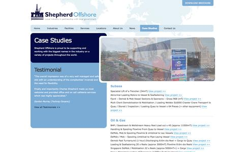 Screenshot of Case Studies Page shepherdoffshore.com - Case Studies | Shepherd Offshore - captured Oct. 6, 2014