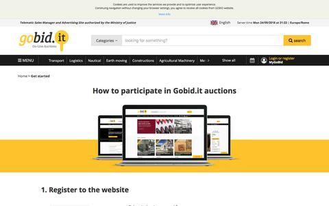 Screenshot of FAQ Page gobid.it - Gobid.it | Get started - captured Sept. 24, 2018