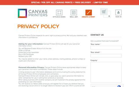 Screenshot of Privacy Page canvasprintersonline.com.au - Policies - Canvas Printers Online Pty Ltd - captured Sept. 11, 2016