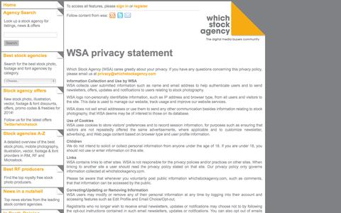 Screenshot of Privacy Page whichstockagency.com - Which Stock Agency : Privacy statement - captured Oct. 26, 2014