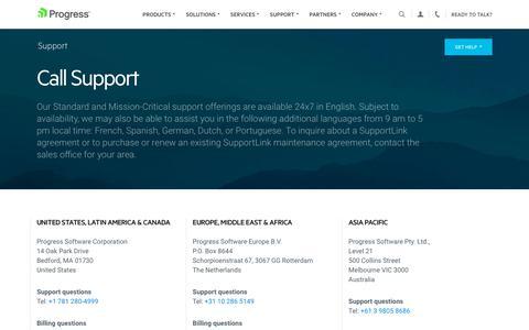 Screenshot of Support Page progress.com - Call Support - Progress - captured July 17, 2019
