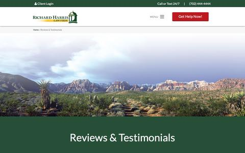 Screenshot of Testimonials Page richardharrislaw.com - Richard Harris Law Firm Reviews and Testimonials - captured Dec. 22, 2016