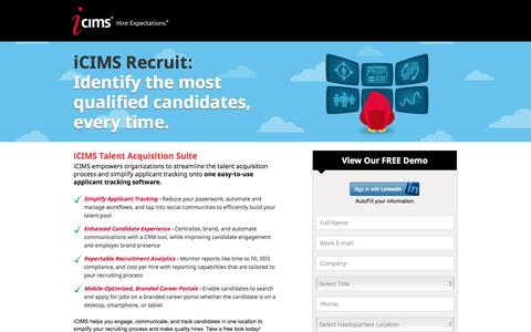 Screenshot of Landing Page icims.com - Applicant Tracking Software | Recruitment Software | iCIMS Talent Acquisition Suite - captured Aug. 17, 2016