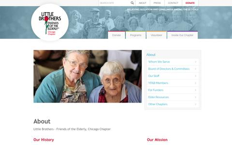 Screenshot of About Page littlebrotherschicago.org - About Little Brothers – Friends of the Elderly, Chicago Illinois |Little Brothers - Friends of the Elderly - captured Nov. 10, 2016