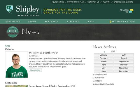 Screenshot of Press Page shipleyschool.org - The Shipley School |  News - captured Oct. 23, 2017